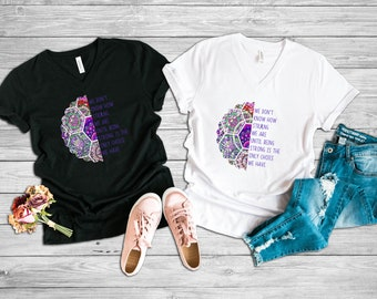 Being Strong Only Choice Mandala Adult VNeck Shirt/Purple