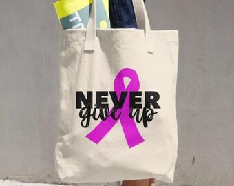 Never Give Up Pink Ribbon Tote Bag