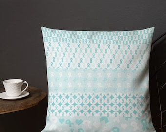 Turquoise Ribbons on Ribbons Twosided Pillow Case with Stuffing