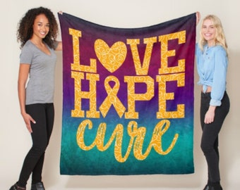 Love Hope Cure Whimsical Hearts (Orange) Blanket *