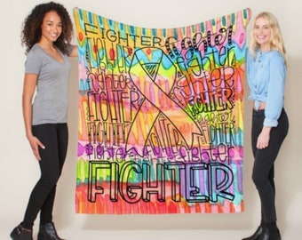 Fighter Typography Paint Blanket *