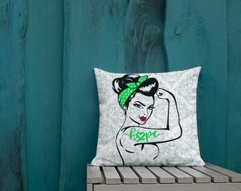 Chronic Illness Hope/Green Two Sided Pillow Case ONLY
