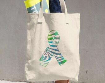 Think Zebras Mixed Colors Print Tote Bag