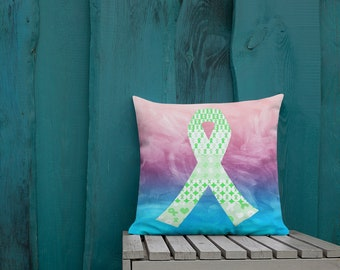 Green Ribbons on Ribbons Two Sided Pillow Case ONLY