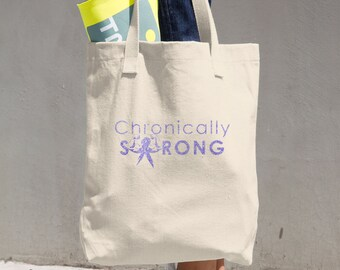 Chronically Strong Purple Glitter Print Tote Bag