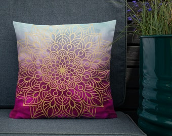 Blue Pink Tone Awareness Mandala Two Sided Pillow Case ONLY