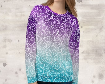 All Over Print Whimsical Ribbons Sweatshirt