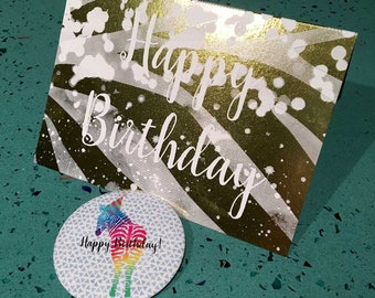 Happy Birthday Foil Card and Zebra Pin *