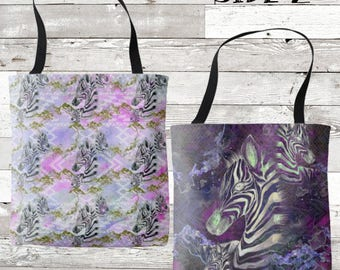 Watercolor Aztec Zebras Two Sided Tote Bag *