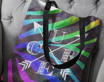 Cure Stripes Mandala Two Sided Tote Bag