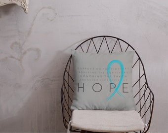 Chronic Illness Hope/Blue Twosided Pillow Case with Stuffing