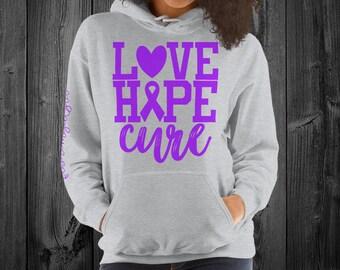 Fibromyalgia/Love Hope Cure Hoodie