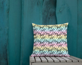 Rainbow Patterned Zebras Two Sided Pillow Case ONLY