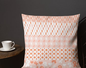 Orange Ribbons on Ribbons Twosided Pillow Case with Stuffing