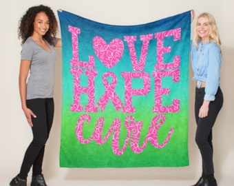 Love Hope Cure Whimsical Hearts (Pink) Blanket *