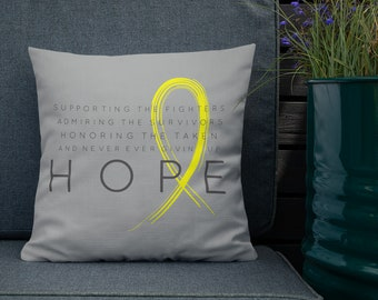 Chronic Illness Hope/Yellow Twosided Pillow Case with Stuffing