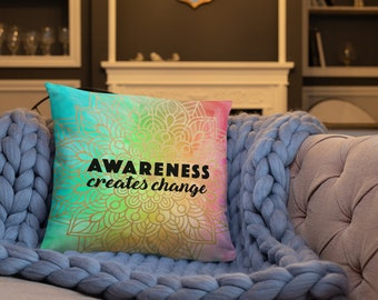 Bright Vertical Awareness Mandala Two Sided Pillow Case with Stuffing