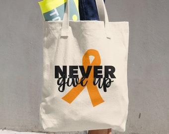 Never Give Up Orange Ribbon Tote Bag