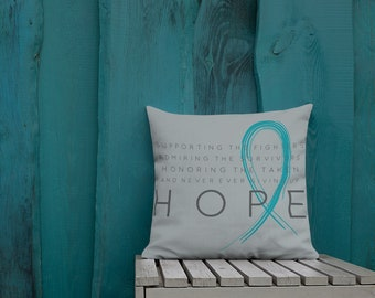Chronic Illness Hope/Turquoise Twosided Pillow Case with Stuffing