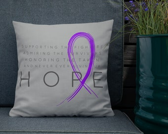 Chronic Illness Hope/Purple Twosided Pillow Case with Stuffing