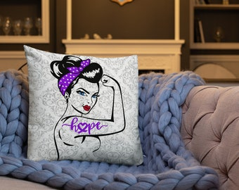 Chronic Illness Hope/Purple Two Sided Pillow Case ONLY