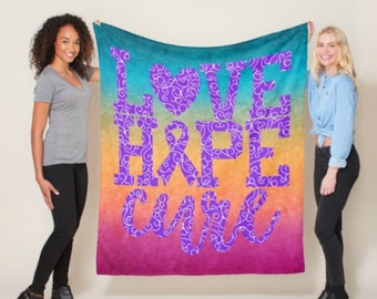 Love Hope Cure Whimsical Hearts (Purple) Blanket *