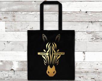 Zebra Warrior Foil Tote Bag