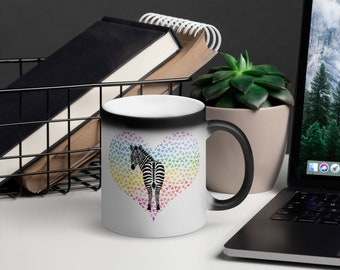 Zebra Confetti Heart Magic Mug