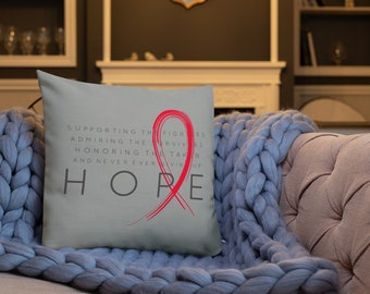 Chronic Illness Hope/Red Twosided Pillow Case with Stuffing