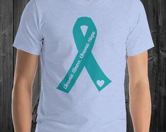 Chronic Illness Chronic Hope Cutout Ribbon Adult Shirt - YOUR COLORS
