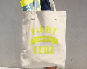 Fight For The Cure Yellow Ribbon Tote Bag