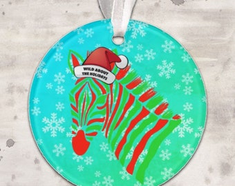 Zebra Wild About The Holidays Christmas Ornament *