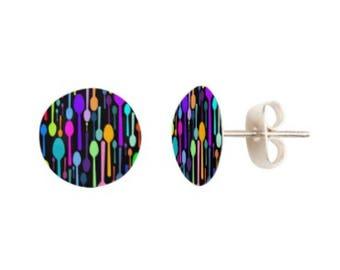 Spoon Pattern Stud Earrings *