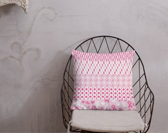 Pink Ribbons on Ribbons Twosided Pillow Case with Stuffing