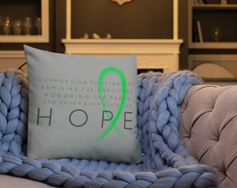 Chronic Illness Hope/Green Twosided Pillow Case with Stuffing