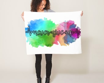 Never Give Up Up Watercolor Blanket *