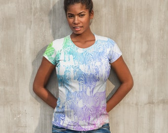 Rainbow Watercolor Zebra Herd All-Over Print Shirt