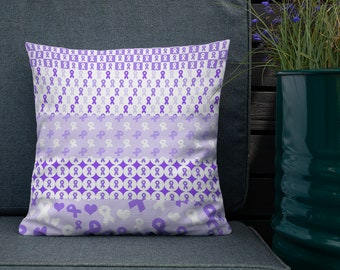 Purple Ribbons on Ribbons Twosided Pillow Case with Stuffing
