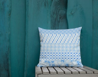 Blue Ribbons on Ribbons Two Sided Pillow Case ONLY