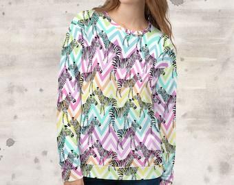 All Over Print Zebra Pastel Chevron Sweatshirt