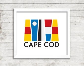 Nautical Flags, Nautical Print, Wall Art, Matted, Art Print, Customized, Colorful, Coastal