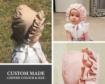 Ruffle Roberta Bonnet - any size from 3 to 18 months - made to order -  single or double ruffle - black cd59953d2616