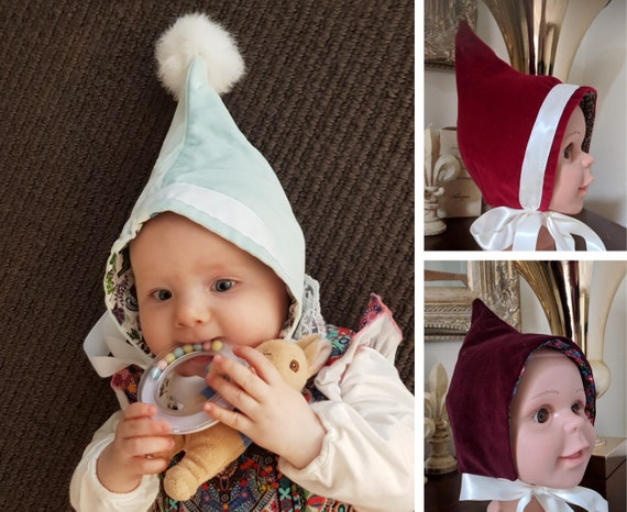 Various Colours and Styles Velvet Pixie Hat pompoms made to order winter pointy bonnet any size newborn up to 18 months
