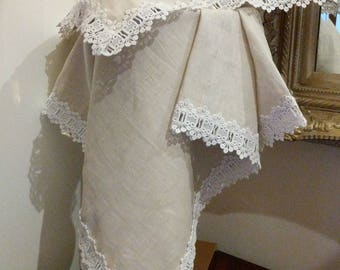 Natural Linen Baby wrap set with white lace trim