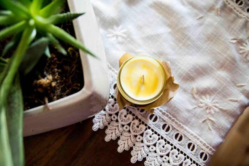 Sun candle   Soy wax & cedar wood tick in a small masson jar image 0