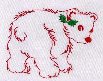 Beautiful Christmas Bear Embroidery Design
