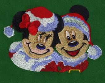 Mickey & Minnie Santa Jubilant Embroidery Design