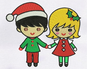 Beautiful Christmas Couple Embroidery Design