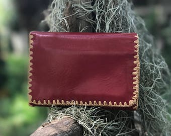 Beautiful handcrafted leather ladies purse/wallet. handmade by local artisans in northern Thailand