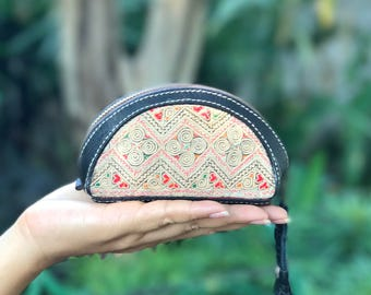Beautiful handcrafted vintage Hmong fabric and leather ladies coin purse, pouch. handmade by local artisans in northern Thailand